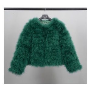 Jackets & Blazers - Green Ostrich Turkey Feathers Fur Coat